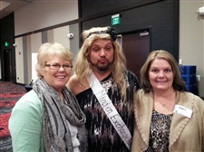 "Christy & Sherri pose with ""Miss Minden Exchange Bank"" at the 2014 CASA fundraiser."