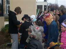 We hand out candy at the Kiddie Halloween Parade -- October 2009